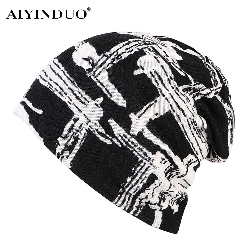 AIYINDUO Knit Women Hat Winter Warm Fashion black and white Caps For Girl Beanie Skullies Hip Hop Floral Female Bonnet hot sale new fashion women autumn hat caps for girl rivet knit beanie skullies colors men casual hip hop hats adult winter bonnet shop
