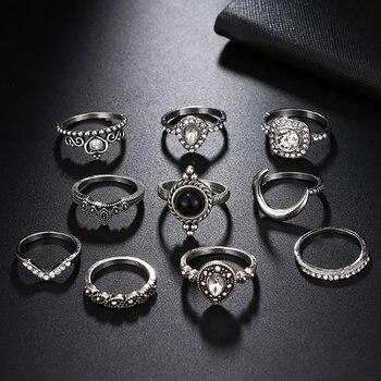 FAMSHIN 10PCS/Set Vintage Antique Silver Moon Heart Ring Set Crown Opal Stone Finger Midi Rings Set for Women Boho Jewelry Gift