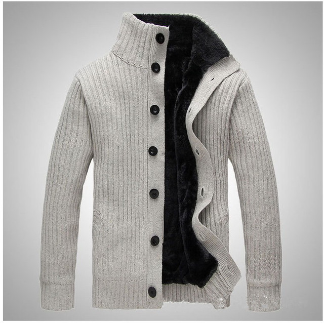 Winter Brand Clothing Men's Fashion Jacket New Thicken Sweater Velvet Stand Collar Woolen Cardigan Sweater Warm Men Coat 148