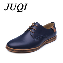 JUQI Men Casual Shoes Lace-Up PU Leather Male Dress Comfortable Soft Flats zapatillas hombre Size 38-48