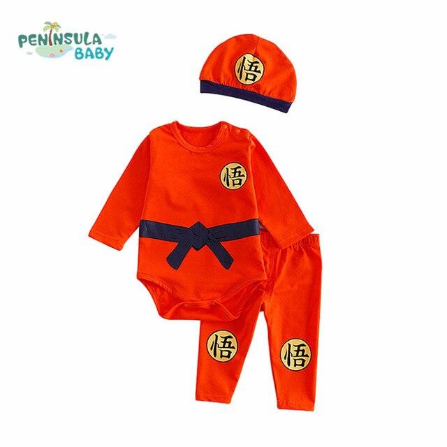 e0f64a00a0cd4 Kung Fu Baby Clothes Sets 3PCS Autumn Cotton Baby Bodysuit+Long Pants+Hat  Cartoon Newborn Boys Girls Summer Clothing Children