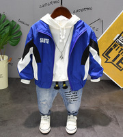 3PCS WLG boys spring autumn clothing set kids blue red striped coat hoodie and jean set boys clothes baby casual clothes