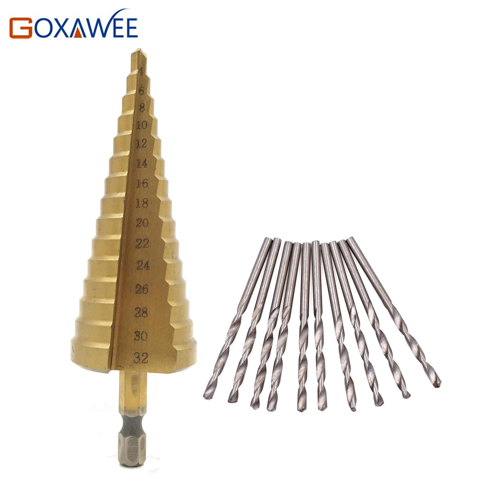 GOXAWEE 1pc Titanium Step Core Drill Bits 4-32mm HSS Power Tools High Speed Steel Wood Metal Drill Bits Hole Cutter Tools 1pc titanium hss step cone drill bits 1 4 to 1 3 8 woodworking hole cutter for power tools
