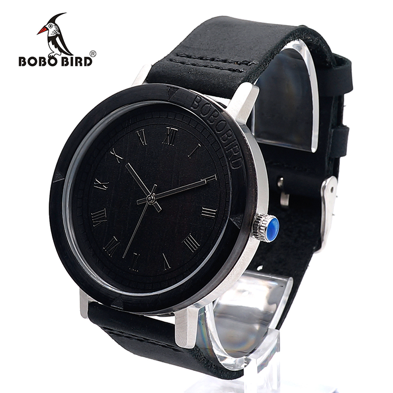 2017 BOBO BIRD Luxury Brand Watch for Men Real Leather Strap Wood Watches Fashion Quartz Wristwatches relogio masculino as Gift bobo bird top brand men watch luxury wood watches with genuine leather strap relogio masculino