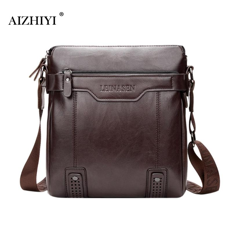 AIZHIYI Genuine Cow Leather Men Business Messenger Bag Zipper Design Solid Crossbody Bags Mens Large Capacity Black Shoulder Bag