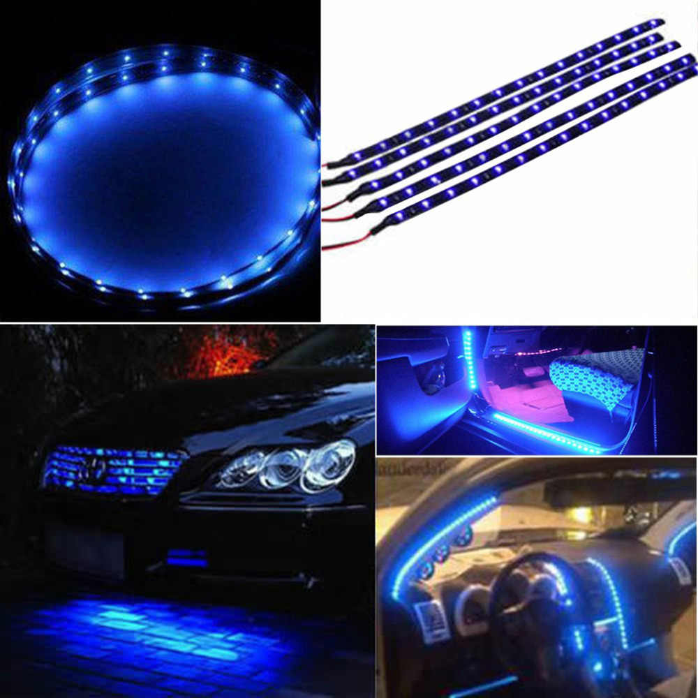 1PC 30cm 15 SMD Blue Waterproof Lights High Power Car Auto Decor Flexible LED Strips