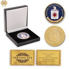 USA CIA Military Central Intelligence Agency Coin American Gold Challenge Coin Collectibles With Luxury Box Protection