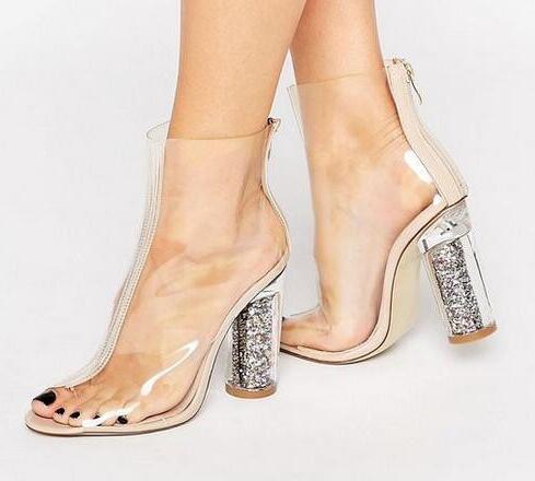 2018 Clear Peep toe Heeled Summer Ankle Boots Transparent PVC Glitter High Heels Women Sandals Fashion Women Pumps Free Shipping
