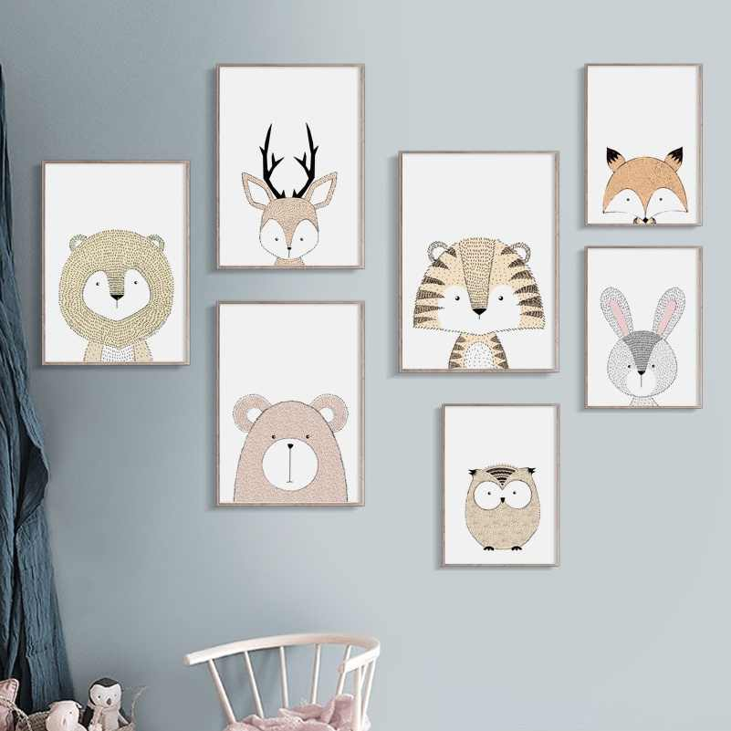 Lion Deer Fox Owl Bear Rabbit Tiger Nursery Nordic Posters And Prints Wall Art Canvas Painting Wall Pictures For Kids Room Decor
