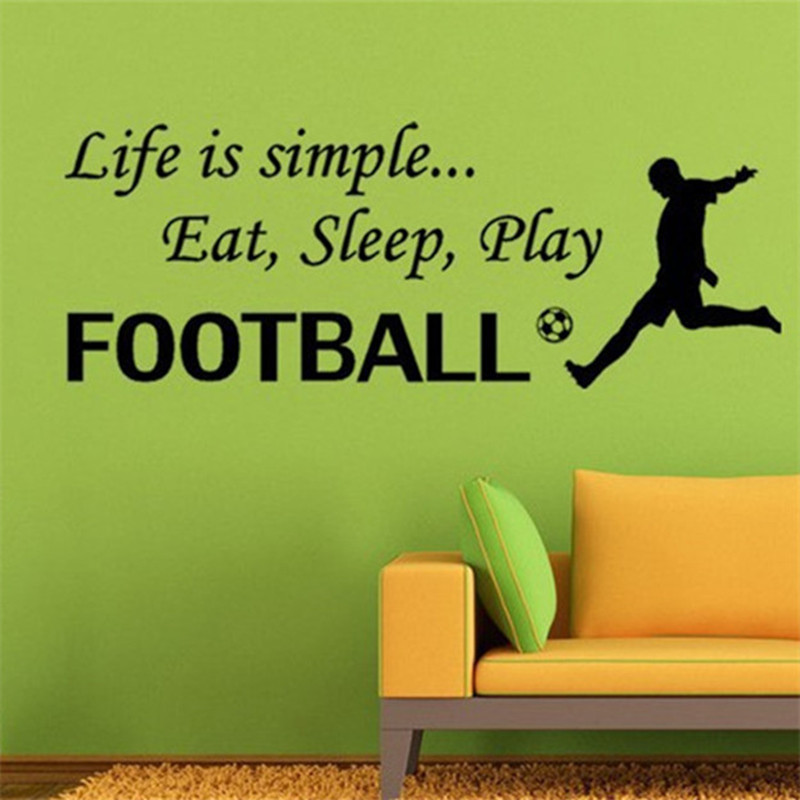 soccer quotes wall decals life is simple eat sleep play football vinyl stickers home decoration mural club posters free shippingin wall stickers from home