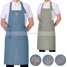 VEEYOO Solid & Embroidery Bib Apron with Pockets, Linen Viscose, Restaurant Home Kitchen Garden Chef Aprons for Men Women