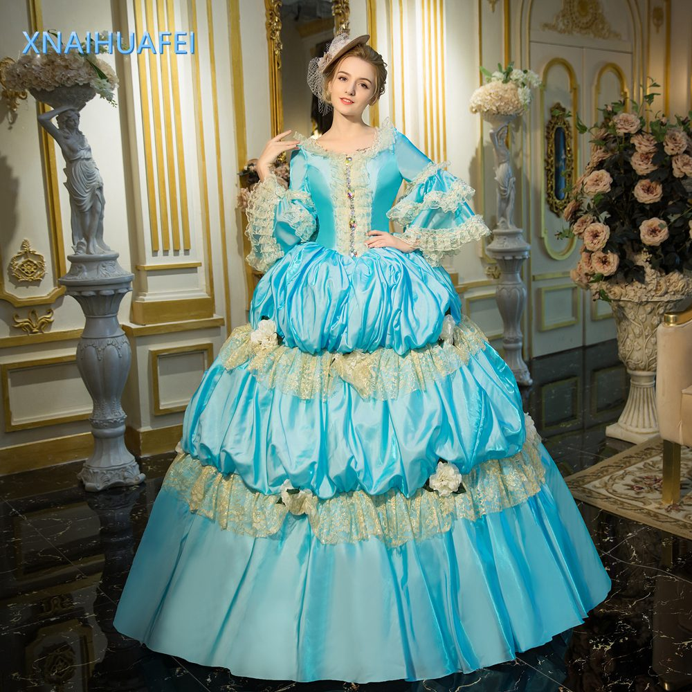 Blue Court Dress Medieval Cocktail Renaissance Costume Victorian ...