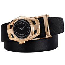 DUBULLE New Leather Genuine Rand Fashion Time Gold Automatic Buckle Black Mens Belts Cowhide Belt For Men DB2104
