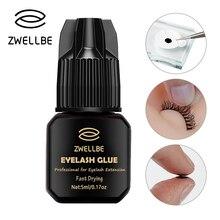 Zwellbe 5ml Eyelash EXTENSIONกาว 1 3 วินาทีแห้งเร็วEyelashesกาวPro LashกาวกาวสีดำRetention 5 7 สัปดาห์