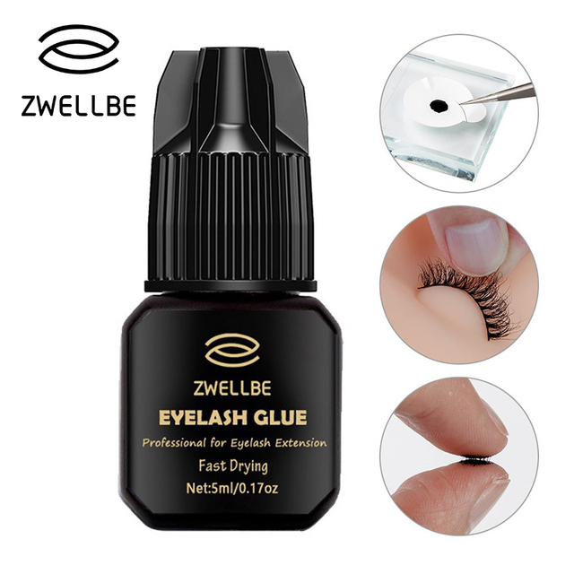 e45f35a43b8 zwellbe 5ml Eyelash Extension Glue 1-3 Seconds Fast Drying Eyelashes Glue  Pro Lash Glue