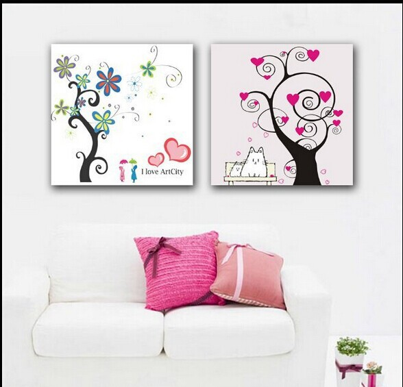 Painting of red love heart tree pictures cat lover 2 for Home decor 2 love