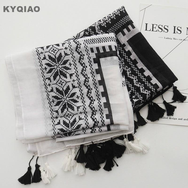 Women scarf 2018 women autumn winter Mexico style hippie vintage long black white print scarves ethnic scarf muffler cape