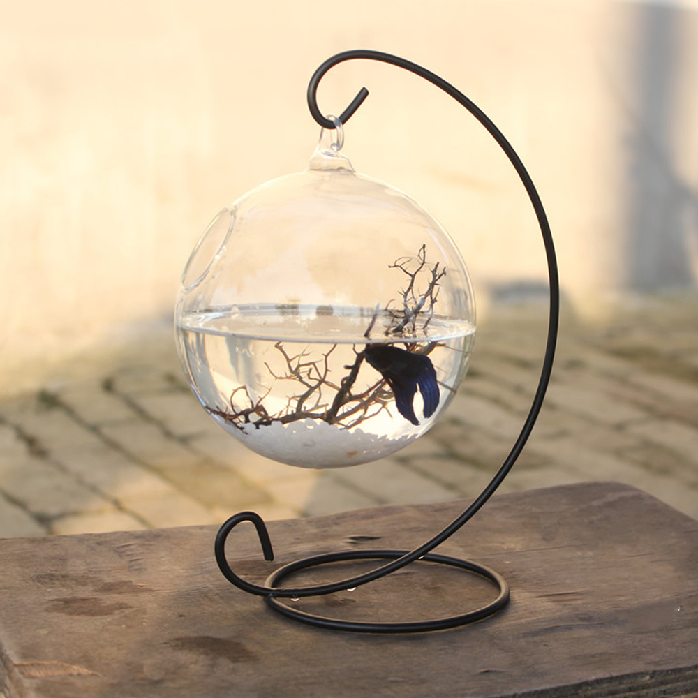 Behogar 15cm Diameter Clear <font><b>Round</b></font> Shape Hanging Glass <font><b>Aquarium</b></font> Fish Bowl Fish Tank Flower Plant Vase Home Decoration with Rack image