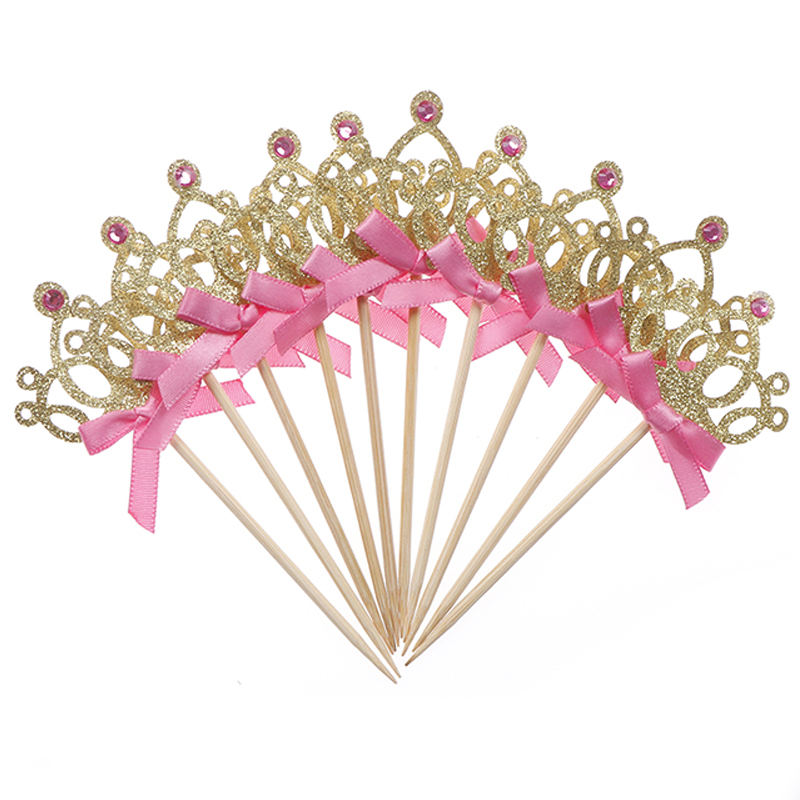 10pcs/lot 1st Birthday Decoration Play Hat Kids Baby Party Toy Gold/Silver Cupcake Toppers Hat Princess Crown Kid's Party