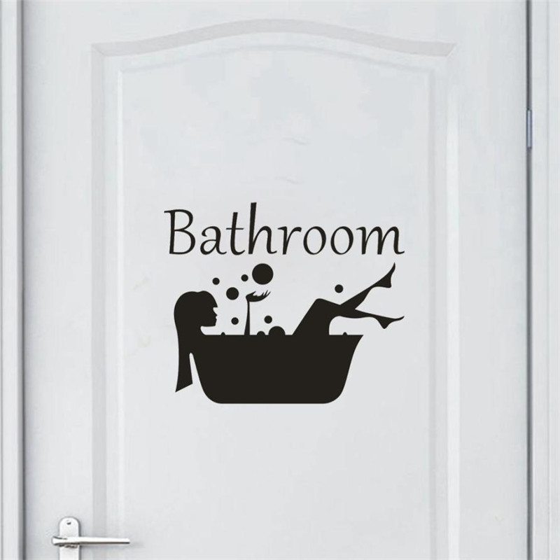 1 Set Bathroom Bathing Tub Door Sticker Reminder Black PVC Removable Sticking Decal Shower Room Stickers Self Adhesive sale