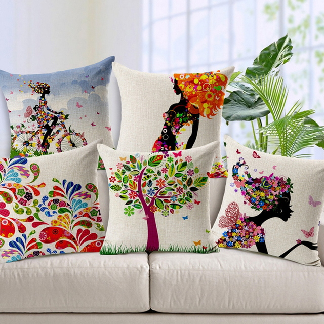 Vintage Cushion Cover Luxury Fl Decorative Pillows Couch Home Cotton Linen Flower Print Pillowcase Cojinesthrow Pillow