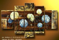 5 panel Hand Painted Yellow and blue Dandelion blossom Oil Painting Modern Group flowers wall art Drop shipping