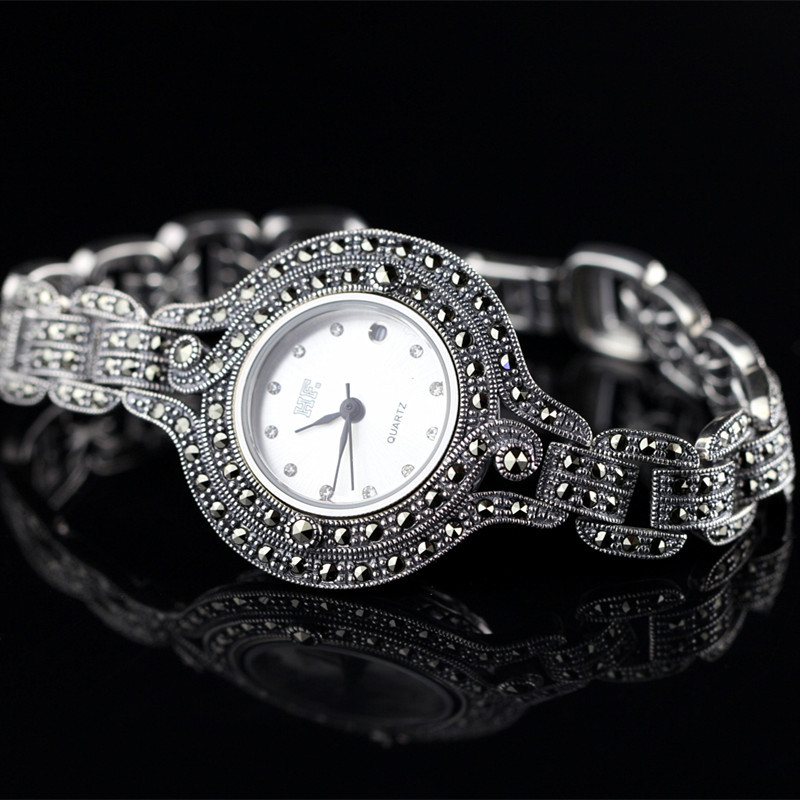 Character silver product S925 pure silver new mark antique watch authentic Thai contracted female model s925 pure silver personality female models new beeswax