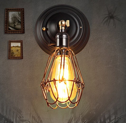 Retro Loft Style Edison Wall Sconce Iron Cage Light Fixtures Vintage Lighting Lamp