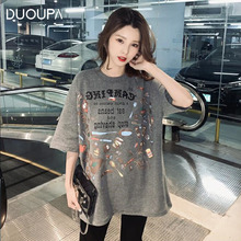 Oversized Loose Casual Cartoon Print Kawaii O-Neck Print T-Shirt Solid Color T-Shirt Women's Short Sleeve Letter цены