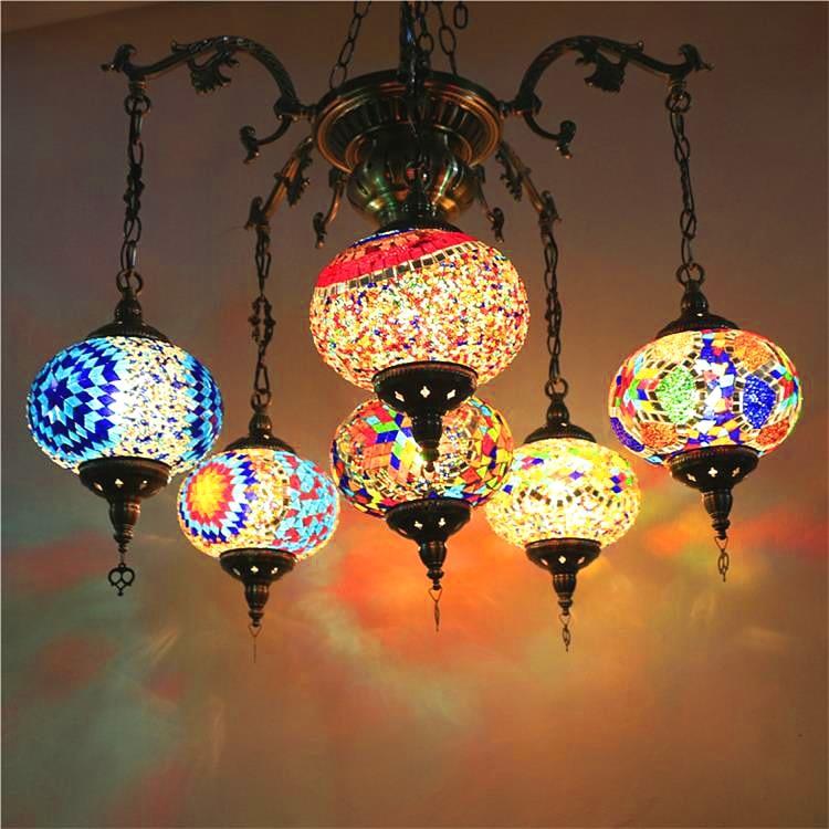 Bohême turc marocain pendentif lumière à la main mosaïque vitrail couloir escalier café Restaurant suspension lampe