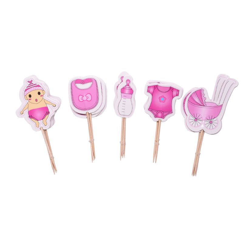 Image 3 - 20pcs Baby Shower Cup Cake Toppers Boy&Girl Birthday Party Cute Decoration Baby Shower Birthday Party DIY Cake Topper Supplies-in Cake Decorating Supplies from Home & Garden