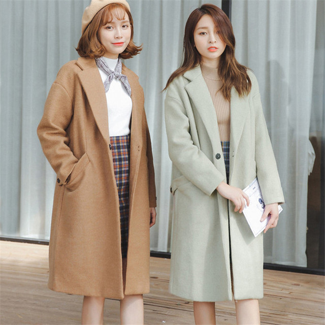OLGITUM The new  women  Cashmere coat in the long section of  loose large yards woolen coat Tos for girl LJ751