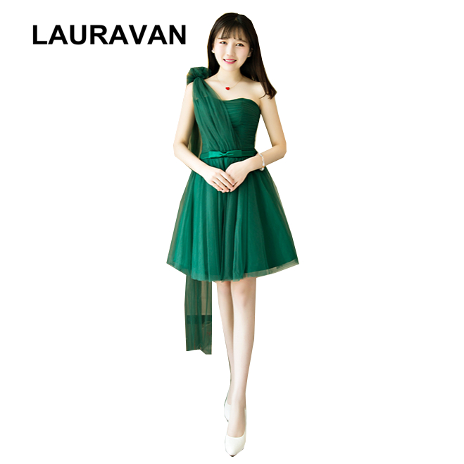 one shoulder green special ocasion short   bridesmaid     dress   tulle modest girls special occasion   dresses   for   bridesmaids   2019
