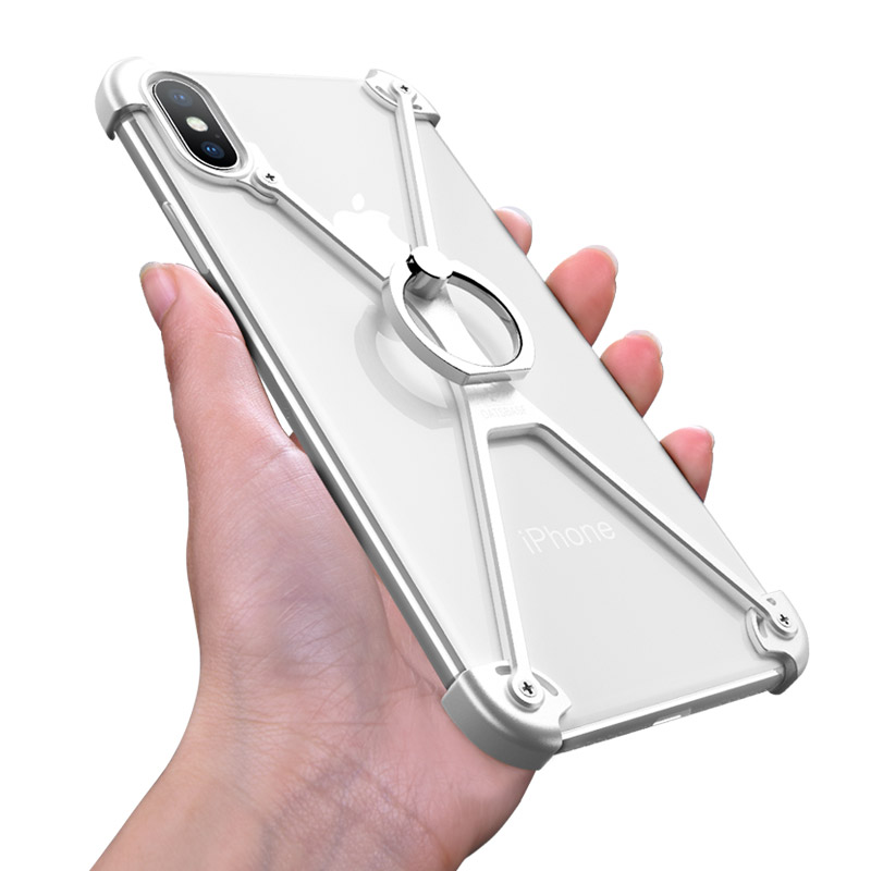 OATSBASF X Shape Ring Holder Phone Case For IPhone X Case Personality Border Metal Bumper Case For IPhone X With Gift Glass Film