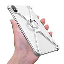 OATSBASF X Shape Ring Holder phone case For iPhone Personality Border Metal Bumper With Gift Glass Film
