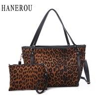 HANEROU Luxury Leopard Ladies Totes Handbags High Quality Shoulder Female Large Bags Composite Bag Set Women Big Bag Shopper bag