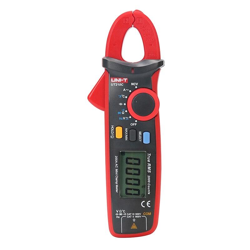 UNI-T Mini Digital Clamp Meter UT210C Ture RMS Auto Range Capacitance Clamp Multimeters Megohmmeter Temperature Multitester youlide uni t ut205a digital multimeters digital clamp meter digital clamp meter