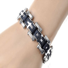 Pria Fashion Punk Style Cross Stainles Steel Gelang Silikon Gelang(China)