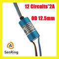 Homemade electrical slip ring rotaring connector 12 circuits/wires contact of capsule slip ring OD 12.5mm
