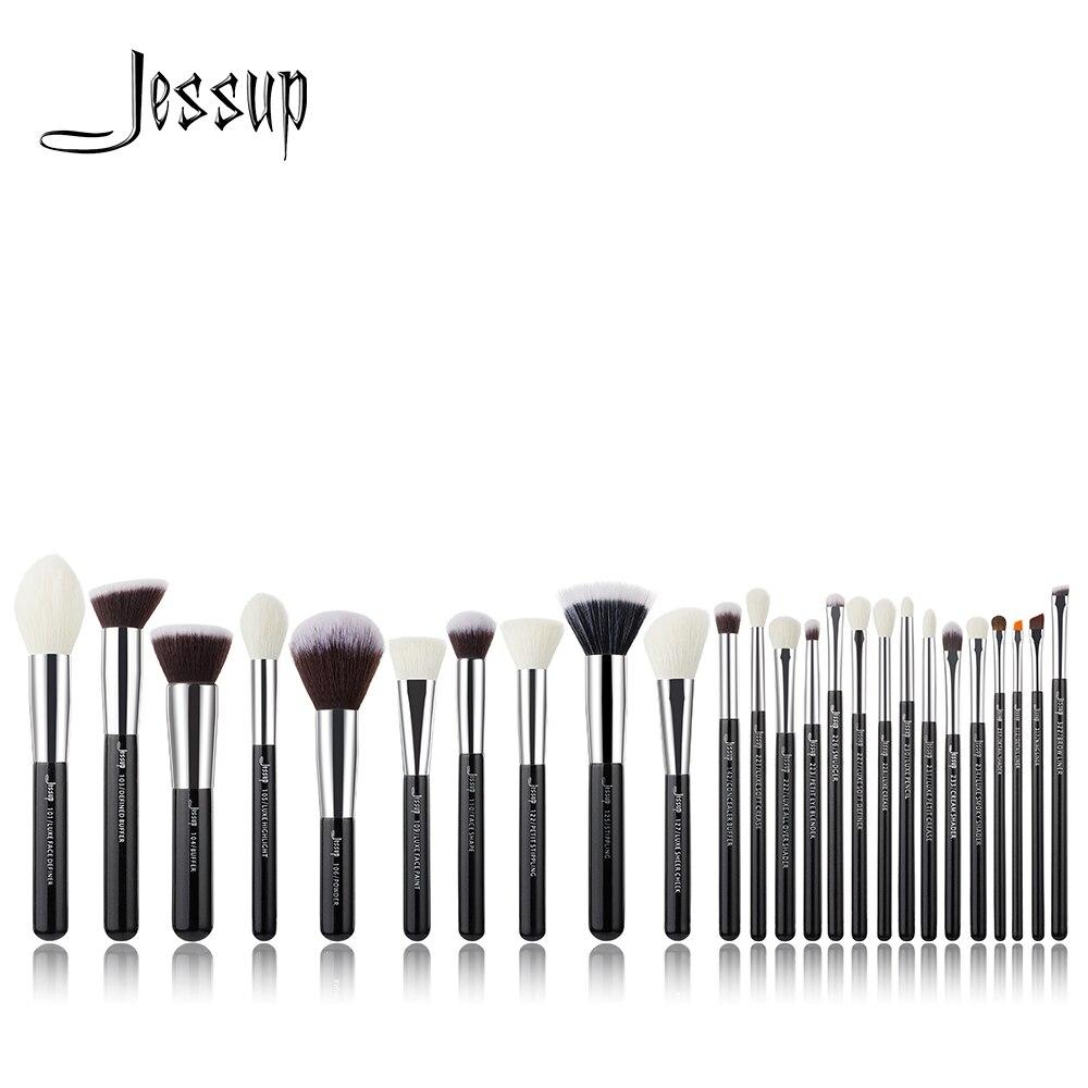 Джессап комплект черный/серебряный профессиональный макияж кисти набор Фонд порошок тени для век Make up Brush краснеет натуральный-синтетическ...