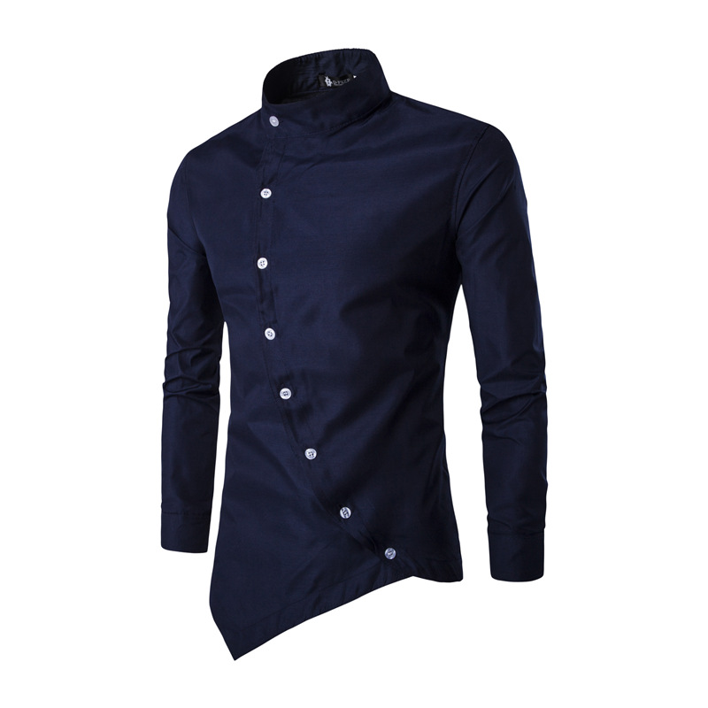 Men Shirt 2018 Personality Oblique Button Irregular Men Casual Dress Shirt New Arrival Long Sleeve Slim Fit Quality Male Shirts