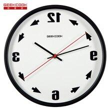 GeekCook Tiempo Relojes de Cuarzo Relojes De Pared de Metal Salón Ideas hacia la Izquierda Todo el Reloj Electrónico Reloj de Pared decoración para el hogar