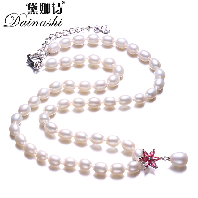 Real 925 Sterling Silver Necklace,White Natural Freshwater Pearl Women Jewelry N