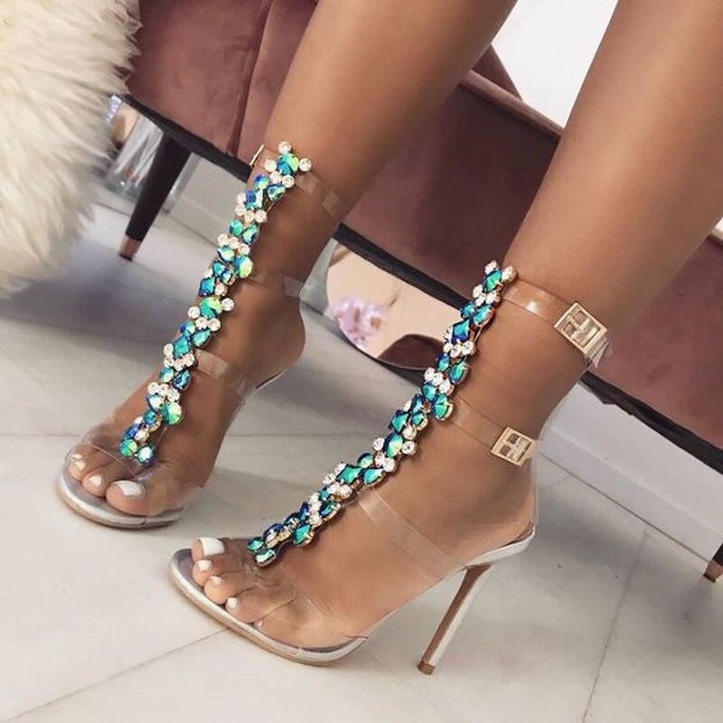 2018 Sandales Blanc Sexy Femme Mince Chaussures Siketu D'été Pvc Talon Cristal Transparent Nouvelle L'europe H Gladiateur Dames Haute Femmes F7xA5Owq