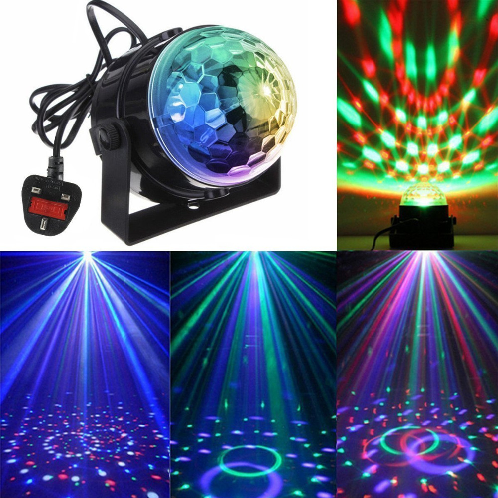 Mini Disco DJ Stage Lights 3W LED RGB Sound Activated Crystal Magic Rotating Ball Lights Effect For KTV Xmas Party Wedding Show