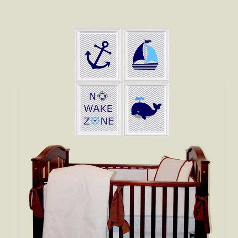 Nautical Nursery impresiones, no Wake Zone, velero, ballena, ancla ...