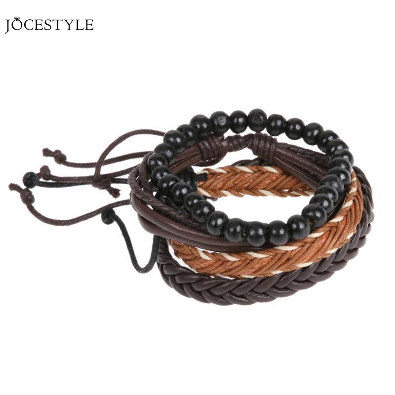 2017 New Leather Bracelet Leisure Retro Multi-layer Bracelet Ladies / Men Charm Style Bracelet Handmade Braided Wistband