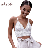 ArtSu 2018 Summer Lace Camisole Sexy Backless Bow Tied Tank Crop Top Casual Cropped Tanks Women
