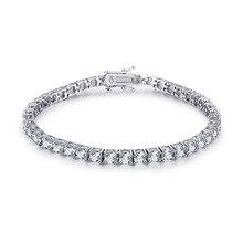18 K Белый позолоченный 4 мм AAA граненый фианит браслет, женская бижутерия классический бренд Качество Теннисный браслет с коробкой для ювелирных изделий