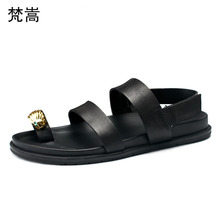 Mens roman Sandals Summer Genuine Leather Breathable Beach Shoes mens gladiator sandals summer British retro men shoes cowhide